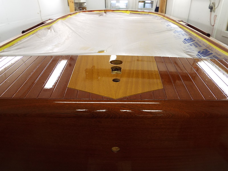 Another view of he rear king plank with stain, sealer and varnish applied and unmasked.