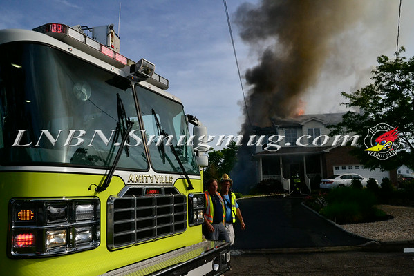Amityville F.D. Working House Fire 17 Macdonald Avenue 7-3-14