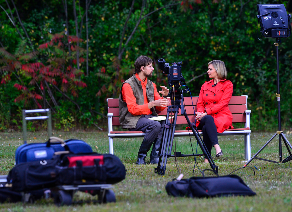 . Nathan Carman, survived eight days out at sea, talks to an ABC reporter about the experience outside of the Holiday Inn Express in Brattleboro, Vt., on Wednesday, Sept. 28, 2016. Kristopher Radder, Brattleboro Reformer staff via AP.