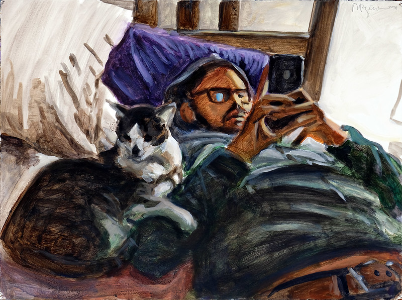 Cat and texting man, acrylic on paper, 22 x 30 in., 2018
