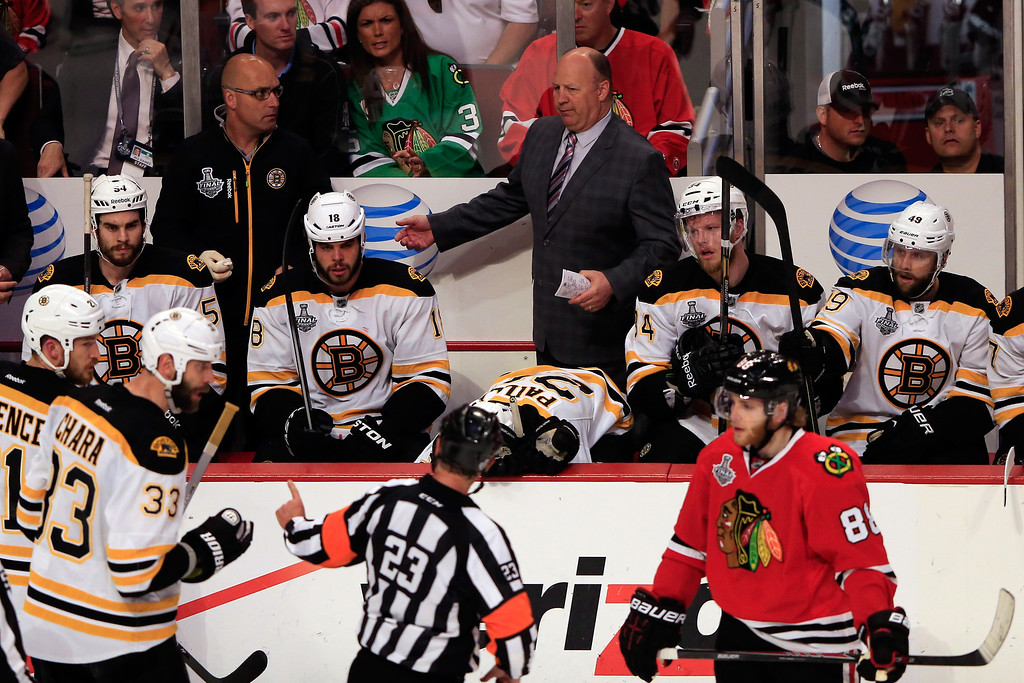 . CHICAGO, IL - JUNE 22:  Head Coach Claude Julien of the Boston Bruins looks on against the Chicago Blackhawks in Game Five of the 2013 NHL Stanley Cup Final at United Center on June 22, 2013 in Chicago, Illinois.  (Photo by Jamie Squire/Getty Images)