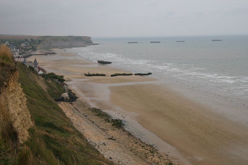 Remains of the Mulberry harbour at Arromanches. These were the concrete caissons which made up the British Mulberry harbour during the Normandy Invasion of WW2.
