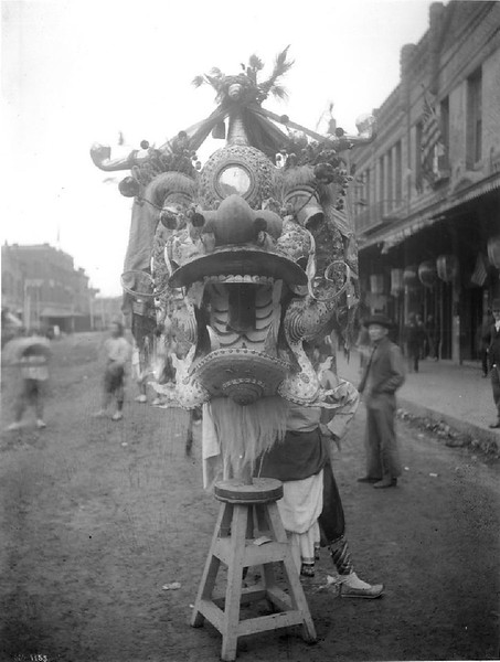 Chinese dragon head close-up, Los Angeles, ca.1900