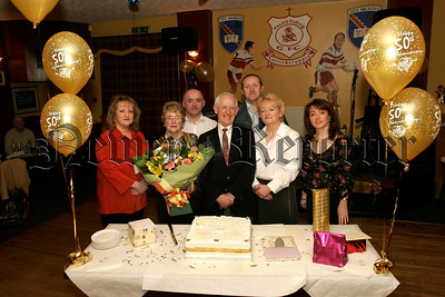 Pictured at a surprise Golden  Wedding Anniversary Function on Easter Monday in Garrickcruppin GAC, Mr & Mrs Francis and Eileen Monaghan,(nee Mc Cartan) who were married on Easter Monday 11th April 1955 in St Peter and St Paul,s Church Bessbrook. Pictured with their Family,Sons, Kenny, Paul, Daughters, Helen, Karen, Bernadette. 05W13N18