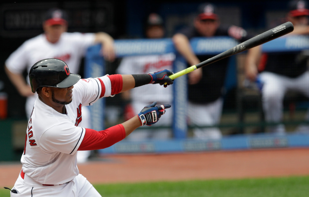 . Cleveland Indians\' Edwin Encarnacion hits an RBI-single in the third inning of a baseball game against the Chicago White Sox, Wednesday, May 30, 2018, in Cleveland. Michael Brantley scored on the play. (AP Photo/Tony Dejak)