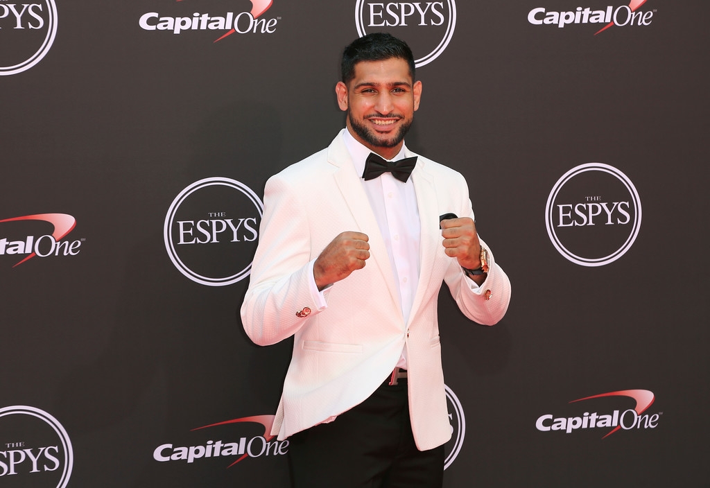 . Amir Khan arrives at the ESPY Awards at Microsoft Theater on Wednesday, July 18, 2018, in Los Angeles. (Photo by Willy Sanjuan/Invision/AP)