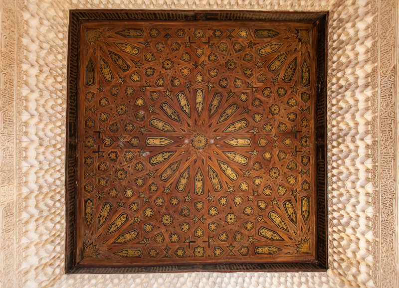 Detail of the wooden inlay ceiling inside the Alhambra.