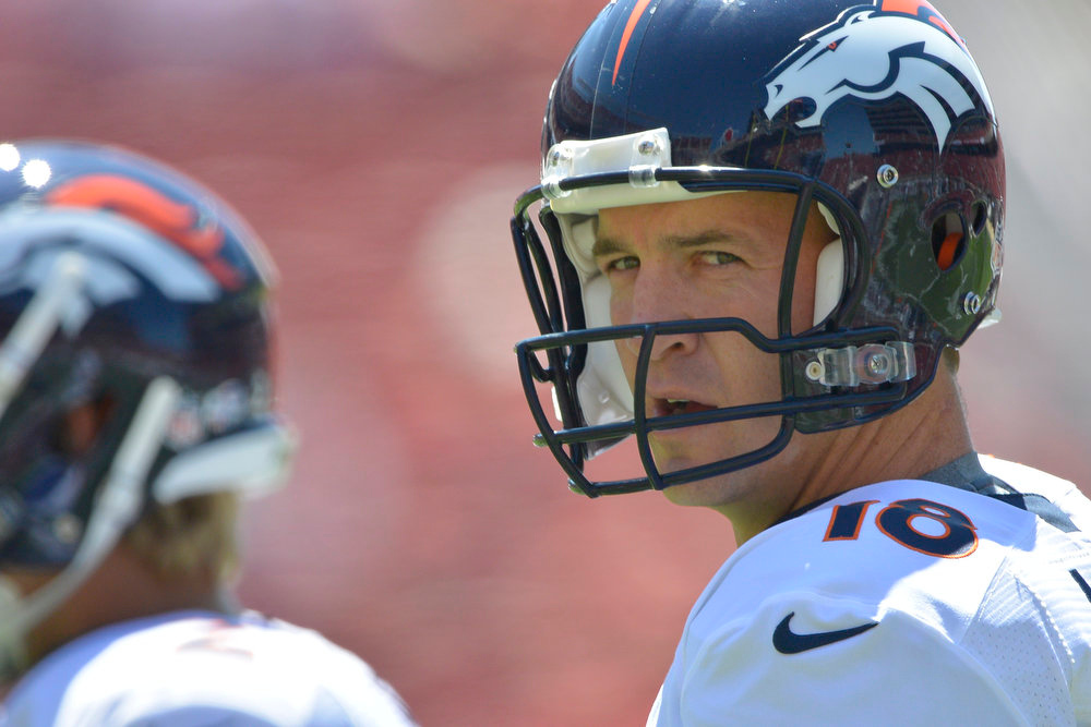 . Denver Broncos quarterback Peyton Manning (18) in pre game before their game against the San Francisco 49ers August 17, 2014 at Levi\'s Stadium. (Photo by John Leyba/The Denver Post)