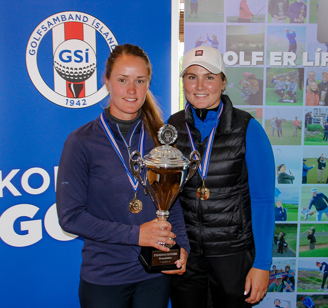 Sigursveit Keilis á Íslandsmótinu í stigakeppni golfklúbba 2019. Guðrún Brá Björgvinsdóttir, Helga Kristín Einarsdóttir á myndina vantar Önnu Sólveigu Snorradóttur.