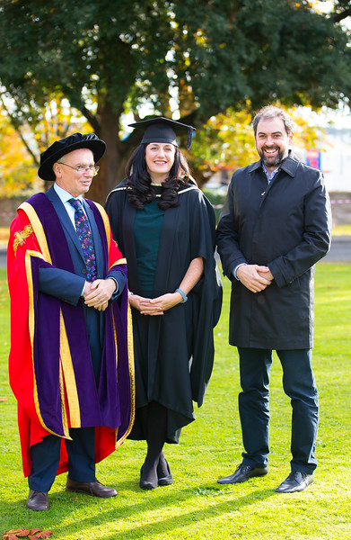 02/11/2016. Waterford Institute of Technology (WIT) Conferring Ceremonies November 2016.  Pictured is Amy Hickey from New Ross who graduated with an MA in Management in Education with her husband  Rory Hussey and Prof. Willie Donnelly President of WIT. Picture: Patrick Browne