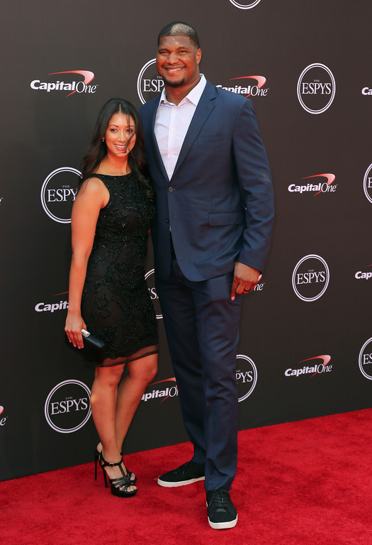 . Jacksonville Jaguars\' Calais Campbell, right, and Rocio Campbell arrive at the ESPY Awards at Microsoft Theater on Wednesday, July 18, 2018, in Los Angeles. (Photo by Willy Sanjuan/Invision/AP)