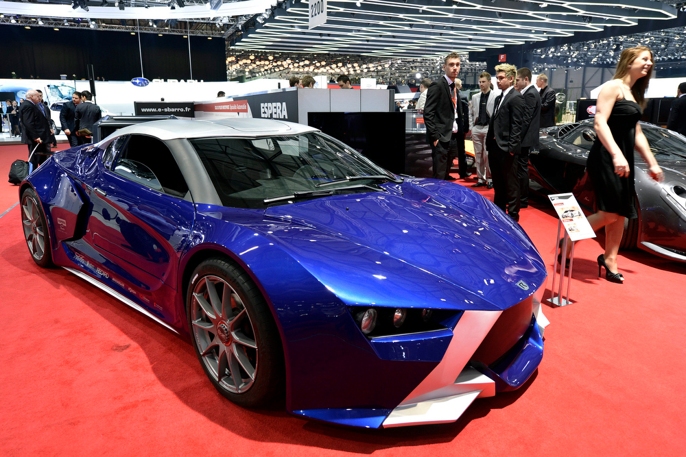 . The new Sbarro Prototype React\'ev is shown during the press day at the 83rd Geneva International Motor Show in Geneva, Switzerland, Tuesday, March 5, 2013. The Motor Show will open its gates to the public from 7th to 17th March presenting more than 260 exhibitors and more than 130 world and European premieres. (AP Photo/Keystone, Martial Trezzini)