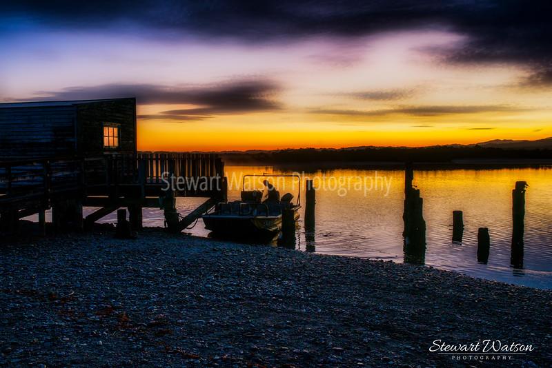 Okarito boatshed at dawn