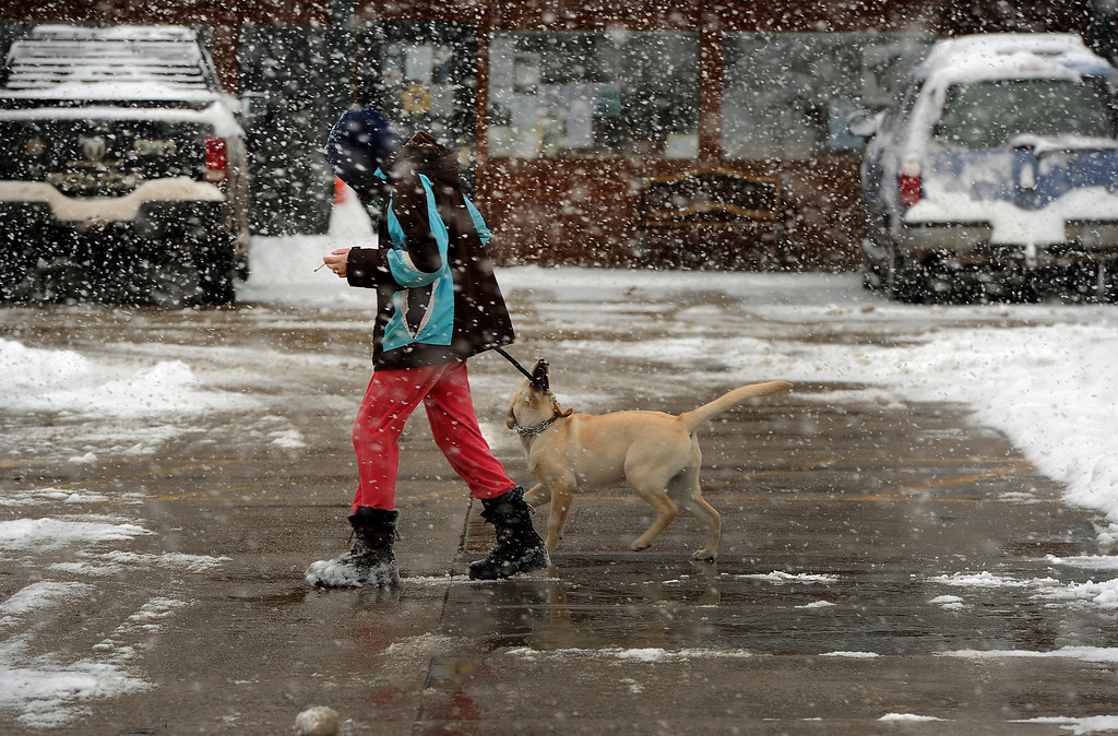 . Charlee Taylor walks her dog Otis in downtown Nederland, CO on May 1, 2013.   (Photo by Helen H. Richardson/The Denver Post)