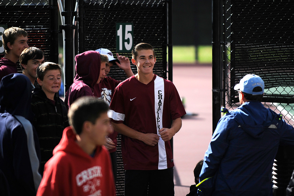 . DENVER, CO. - OCT 12:   Chatfield\'s John Koza smiles during a break in his match on the final day of the 5A Boys\' Tennis Championships at Gates Tennis Center on Oct. 12, 2013.  (Photo By Erin Hull/The Denver Post)