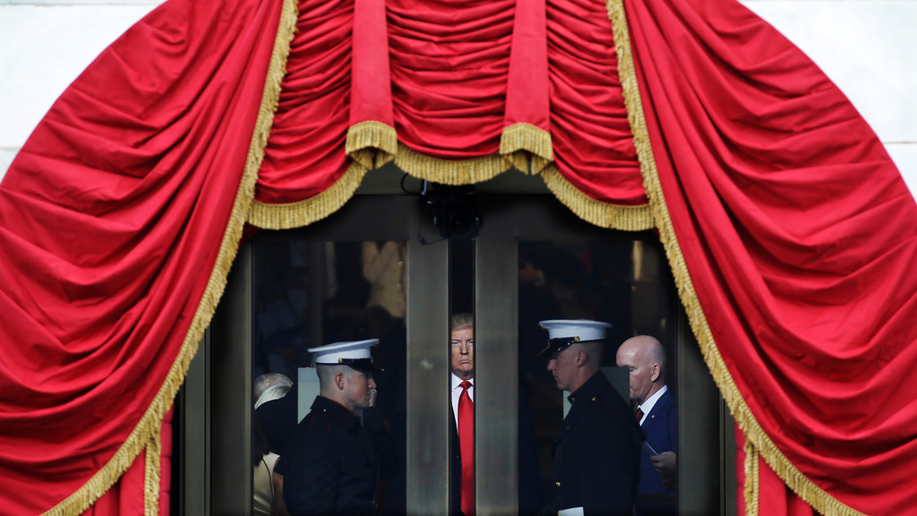 . President-elect Donald Trump waits to step out onto the portico for his Presidential Inauguration at the U.S. Capitol in Washington, Friday, Jan. 20, 2017. (AP Photo/Patrick Semansky)