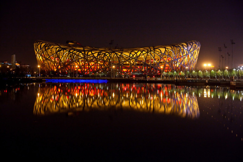 China, Beijing Bird's Nest Stadium from across the pond. April 13 2010