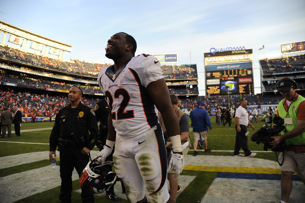 . SAN DIEGO, CA. December 14, - running back C.J. Anderson #22 of the Denver Broncos talking to his fans after winning against the San Diego Chargers 22-10 at Qualcomm Stadium December 14, 2014 San Diego, CA (Photo By Joe Amon/The Denver Post)