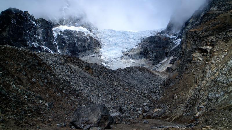 a glacier outside the Italian pyramid lab by Lobouche