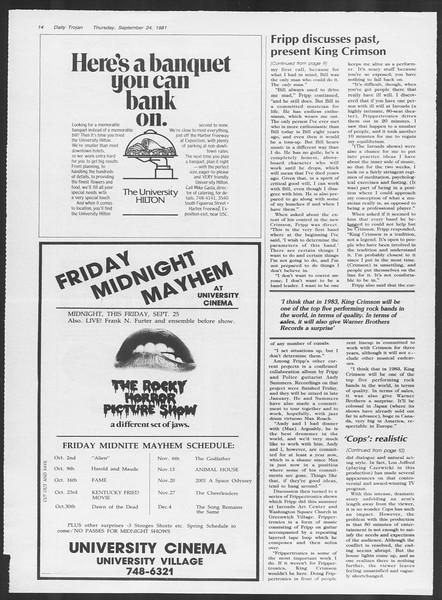 Daily Trojan, Vol. 91, No. 17, September 24, 1981