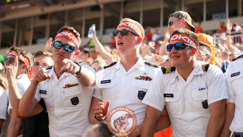 Members of the Corps of Cadets stand in the South endzone to watch the game.  (Mark Umansky/TheKeyPlay.com)