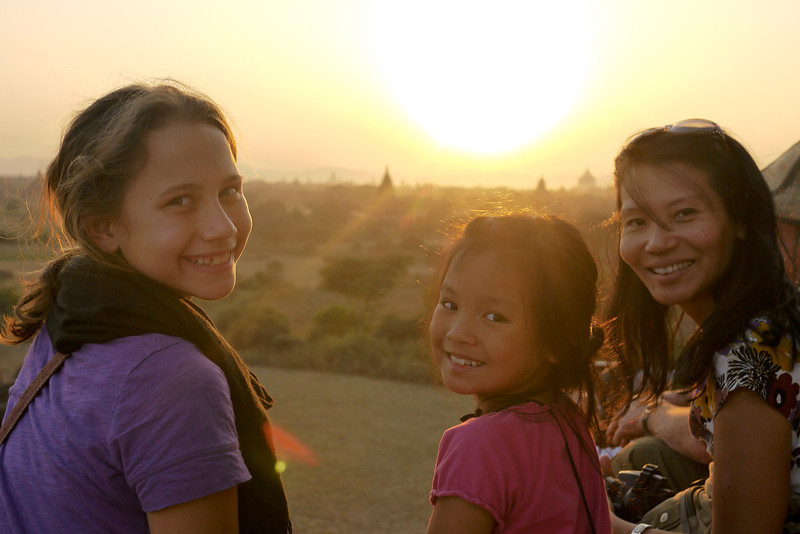 Ana, M, and A at sunset on one of the temples in Bagan, Burma (Myanmar)