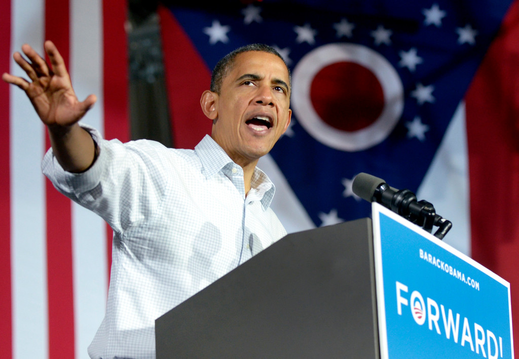 . President Barack Obama speaks to supporters during a campaign stop at Mentor High School in November 2012. (News-Herald file)