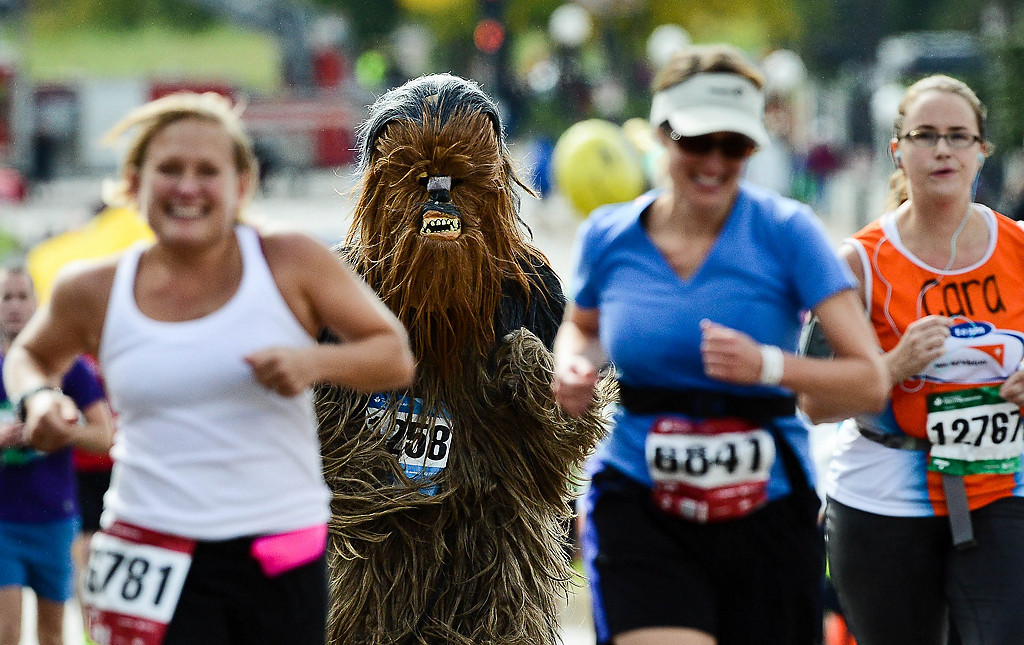 . Chewbacca, aka Greg Geiger of St. Paul, was among those who finished the Twin Cities Marathon. (Pioneer Press: Ben Garvin)