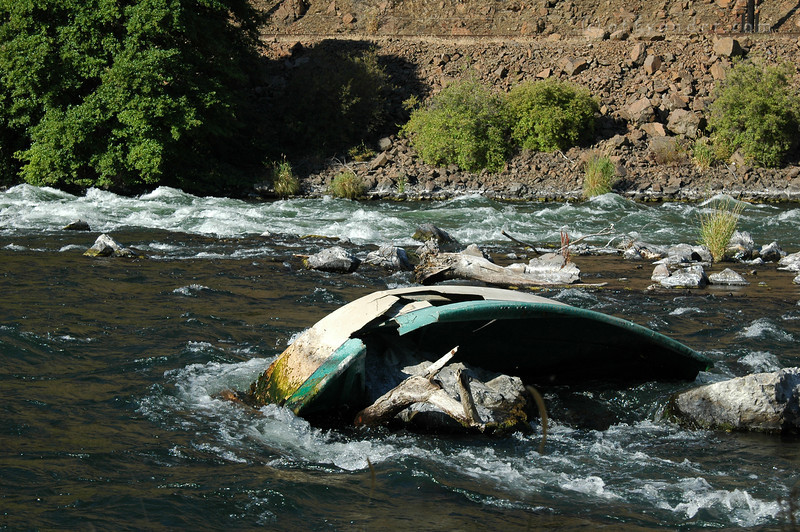 A blatent message of the power of the flowing water and the dangers of the rapids.