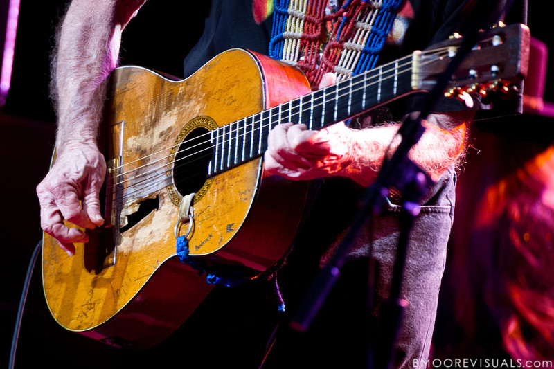 """Willie Nelson performs with his trusty guitar """"Trigger"""" on February 17, 2011 at Van Wezel Performing Arts Hall in Sarasota, Florida"""