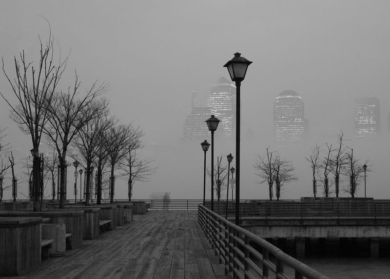 Waterfront with Early Morning Mist