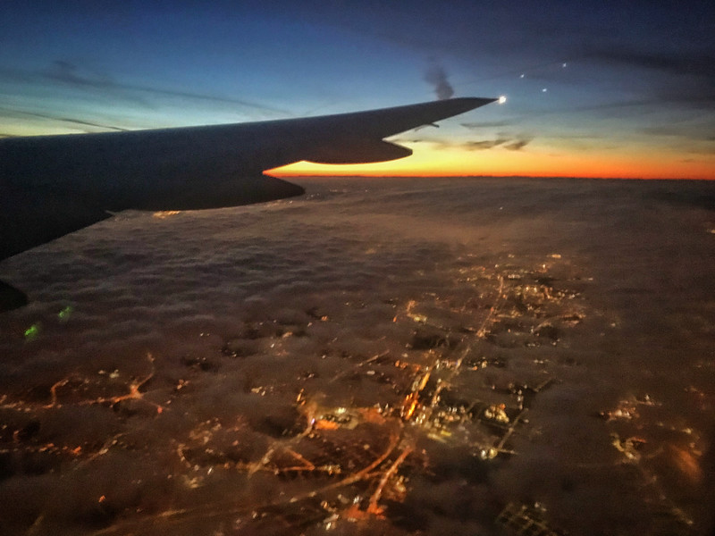 Flying into London at dawn.