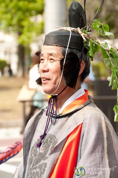 Japanese Man Participates in Aoi Matsuri Shinto Festival - Kyoto, Japan