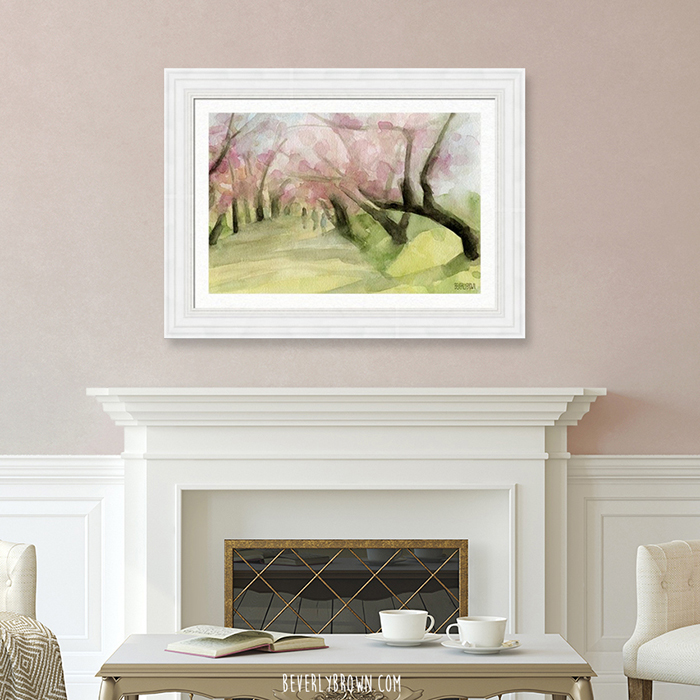 Cherry Blossom Trees in Central Park NYC Large Framed Wall Art Over the Fireplace