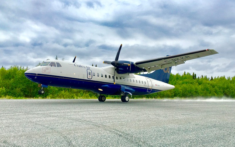 A Calm Air ATR 42 on the gravel runway at Elk Island, Man. EIC Photo