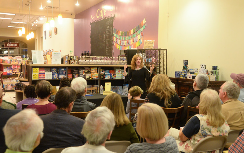 Kathy Hunt talking about fish at the Towne Book Center