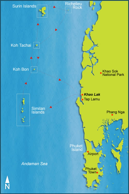 Map of Khao Lak, Phuket and the Similan Islands