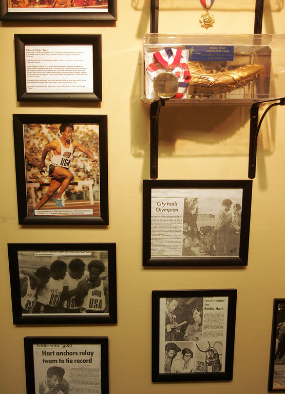 . Olympic gold medalist Eddie Hart\'s career is part of an exhibit that honors Pittsburg sports legends at the Pittsburg Historical Society in Pittsburg, Calif., on Wednesday, Feb. 25, 2009. (Dean Coppola/Bay Area News Group Archives)