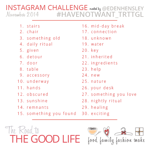 2014 Have not Want Instagram Challenge