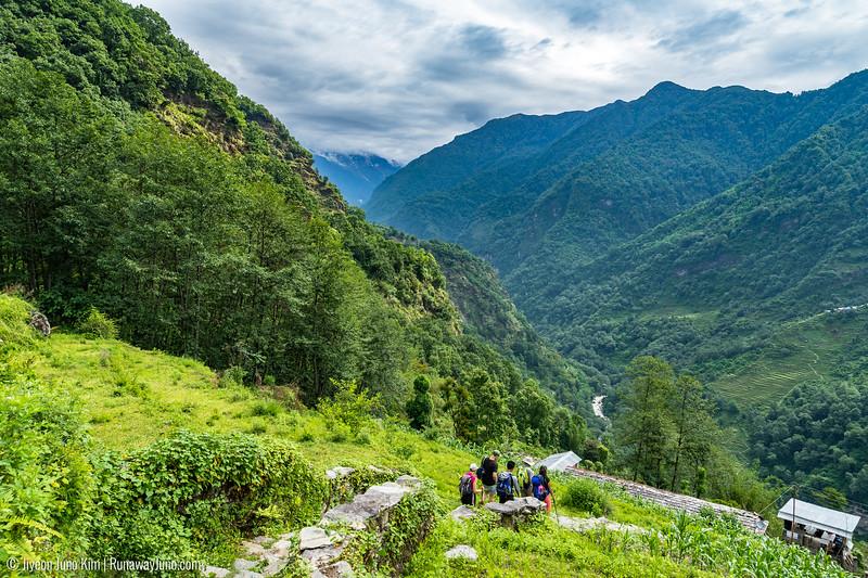 Out trekking group walking down from Ghandruk
