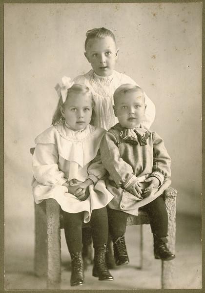 "Alice Martha Dew (1902-1999), Glenna Ellen Dew (1900-1997) Byron Elmer Dew (1893-1986) Written in the Rogers Reunion Photo Album Volume III page 17 under the photo ""Alice b 1902, Glenna b 1900 & Burl b. 1904 Photo ca 1906"""