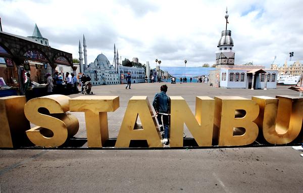 Walking through Istanbul.