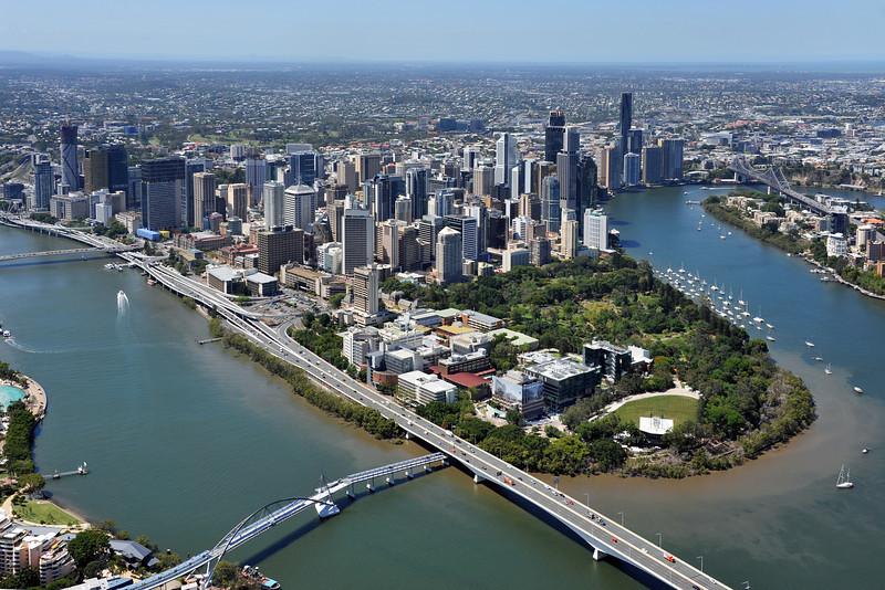 Brisbane CBD skyline.