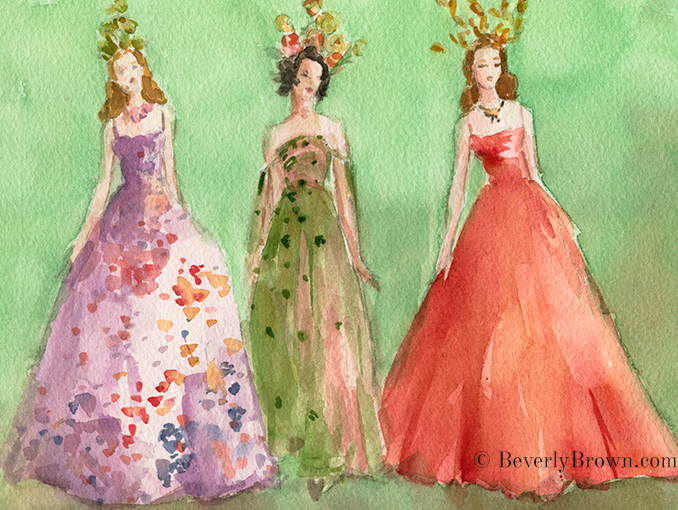 Watercolor fashion sketch by Beverly Brown of haute couture evening dresses by Maria Grazia Chiuri for Christian Dior Spring 2017 - www.beverlybrown.com