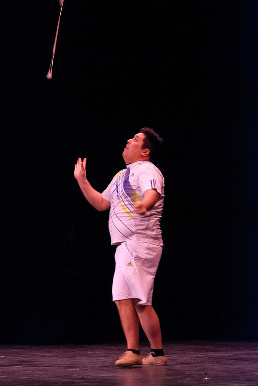 . Kayla Rice/Reformer Josh Wong performs a baton solo during the Winter Carnival variety show on Tuesday evening.