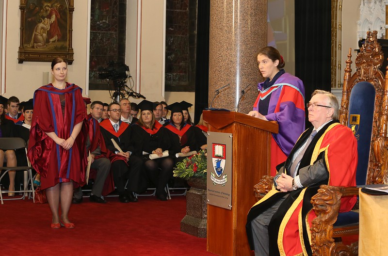 Pictured is Magdalena, Necpalova of Slovakia and Piltown, Kilkenny who was conferred a Doctor of Philosophy, also pictured is Imelda Casey supervisorDr Donie Ormonde, WIT Chairman. Picture: Patrick Browne.