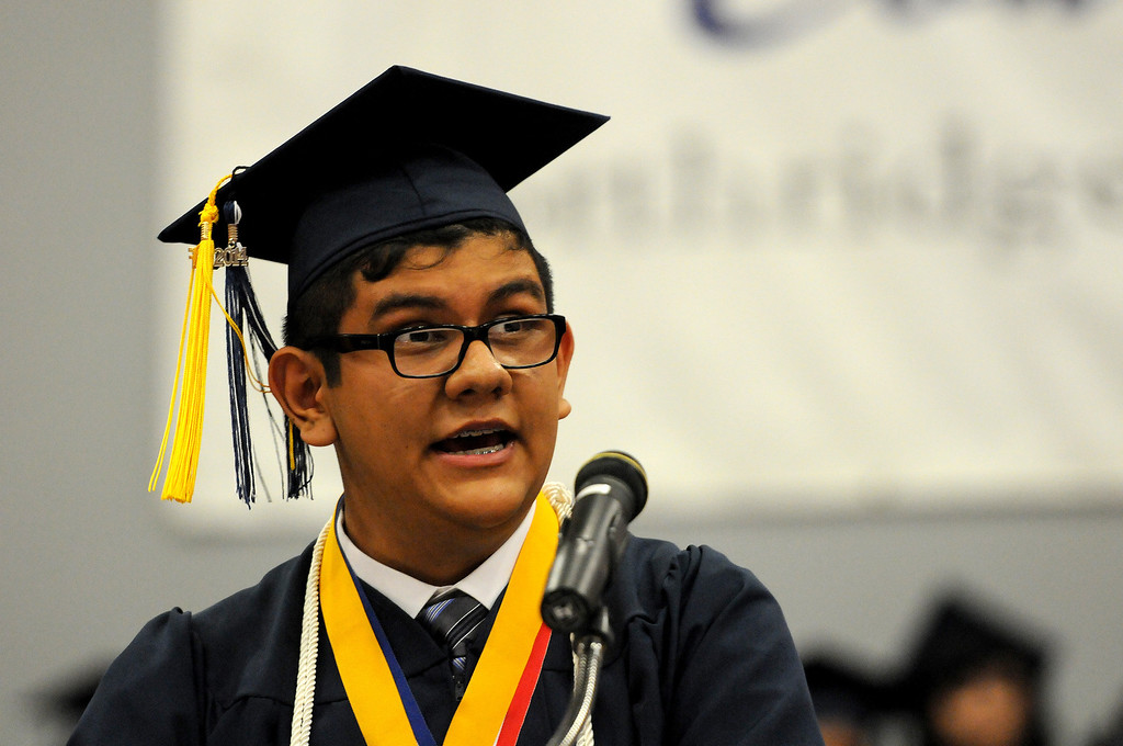 . Valedictorian Steven Salazar speaks to the audience at the Northridge Academy High School graduation ceremony on Thursday, June 5, 2014. (Photo by Dean Musgrove/Los Angeles Daily News)