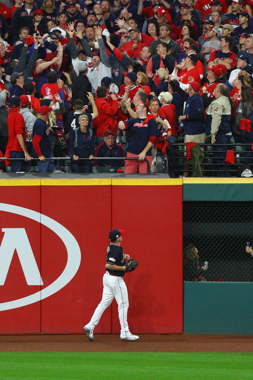 . David Turben - The News-Herald 2017 - Baseball - ALDS Game 5 Quick Pics.  Indians right fielder Jay Bruce (32) watches Yankees\' Did Gregorius second home run of the night land in the crowd.