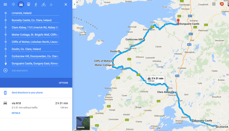 limerick to cliffs of moher route