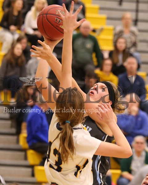 Seneca's Maddie Karchut #15 takes a shot over Mt. Lebanon's Brooke Collins: WPIAL PLAYOFF #13. Seb Foltz/Butler Eagle